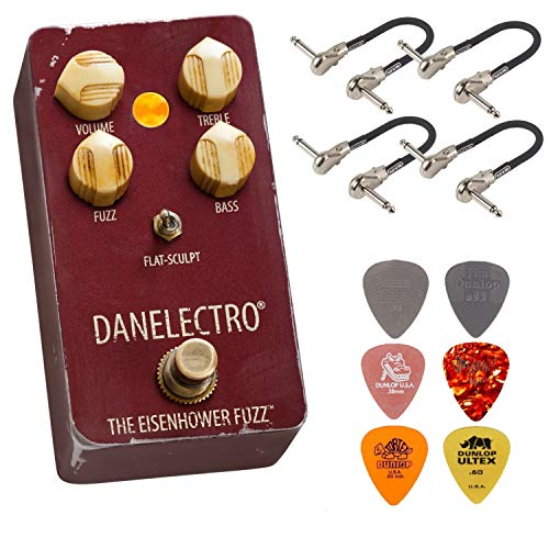 Danelectro The Eisenhower Fuzz Pedal Bundle with 4 MXR Patch Cables and 6 Dunlop Picks (Best Fuzz Pedal Ever)