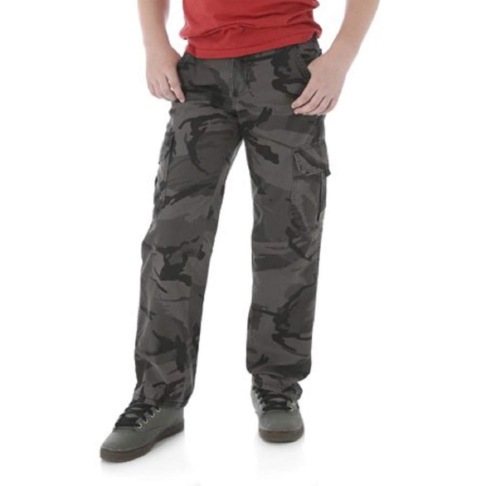 Wrangler Boys Camo Cargo Pants by Classic Twill (14 Husky, Grey Camo) by Wrangler