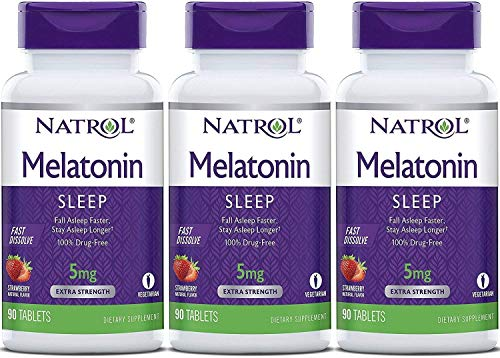 Natrol Melatonin 5mg ,Natural Strawberry Flavor and Sweeteners, 90 Fast Dissolve Tablets (Pack of 3)