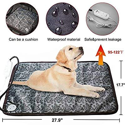 RIOGOO Pet Heating Pad, Dog Cat Electric Heating Pad Indoor Waterproof Adjustable Warming Mat with Chew Resistant Steel Cord from RIOGOO