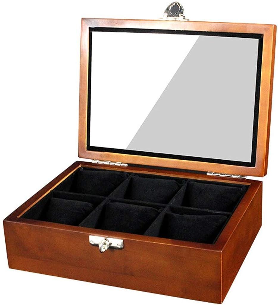WCX Reloj Organizador Joyería Madera 6 Cuadrículas Cajas Almacenamiento con Compartimientos Ventana Transparente con Tapa Pastillas Extraíbles para Hombres O Mujeres (Size : 26.2x19.3x9cm): Amazon.es: Relojes