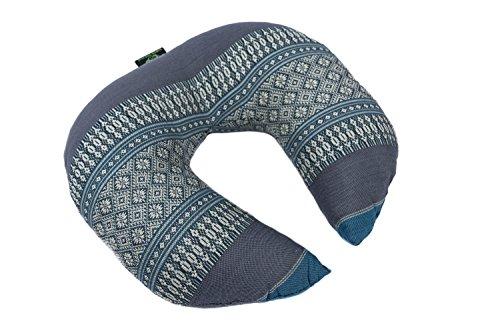 Face Cradle Cushion, 12''x11''x4'', Massage Pillow 100% Kapok Filled Head Rest Blue Tones Thai Design.Neck Cushion by Kapok Dreams