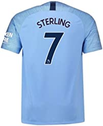 81b3c3be5 2018-2019 Man City Home Nike Football Soccer T-Shirt Jersey (Raheem Sterling