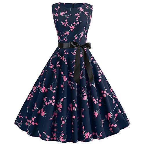 (Shusuen Boatneck Sleeveless Vintage Tea Dress Belt Women Vintage 1950s Retro Rockabilly Prom Dresses Hot Pink)