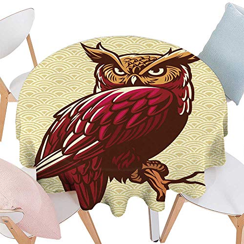 longbuyer Wrinkle Free Tablecloths owl Stand on The Tree Branch Round Tablecloth D 54