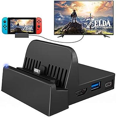 UKor Switch Dock, Mini Switch TV Docking Station Soporte de carga de repuesto para Nintendo Switch Dock Set, Compact Switch to HDMI con puerto USB 3.0 extra (versión actualizada): Amazon.es: Electrónica