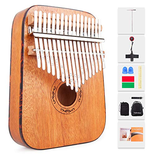 Kalimba 17 Key Thumb Piano Mahogany with Study Instruction, Finger Cover, Tuning Hammer, Pickup, Key Stickers, Carrying bag for Beginners Kids Professional, Rounded Edges, by Vangoa