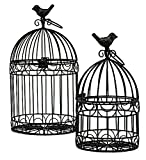 Decorative Bird Cages Wedding Reception Gift Card Holder Centerpiece Garden Ornaments Set of 2 (Black)