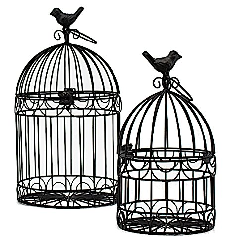 Decorative Bird Cages Wedding Reception Gift Card Holder Centerpiece Garden Ornaments Set of 2 (Black) from S.T.C.