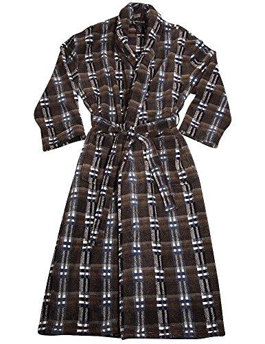 (Pierre Cardin - Mens Long Sleeve Plush Microfiber Plaid Robe, Brown 36721-S/M)