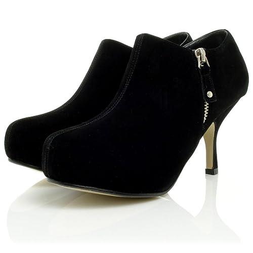 Botas Botines de Tacones Aguja Negro Gamuza Sintética: Amazon.es: Zapatos y complementos