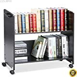 COLIBROX--Movable Library Home Book Cart Wheeled Bookcase Rolling Library Book Truck Black,vintage metal library cart,vintage library book cart,best rolling carts for teachers,book cart