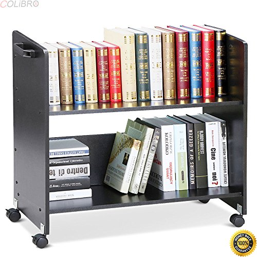 COLIBROX--Movable Library Home Book Cart Wheeled Bookcase Rolling Library Book Truck Black,vintage metal library cart,vintage library book cart,best rolling carts for teachers,book cart by COLIBROX