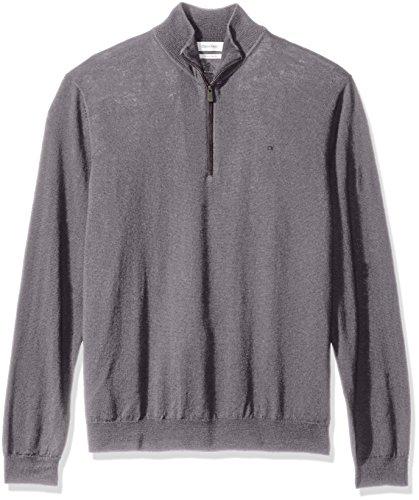 Gray Merino Wool Sweater (Calvin Klein Men's Merino End Check Quarter Zip Sweater, Albenga, X-Large)