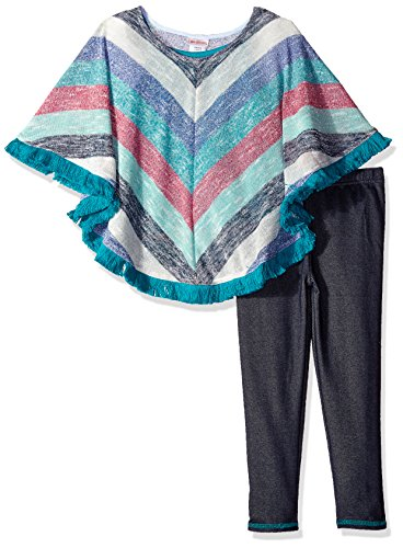 Youngland Little Girls' Knit Striped Poncho With Knit Legging, Blue/Multi, - Poncho Striped Girls