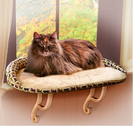 K and H Pet Beds Deluxe Kitty Sill with Bolster KH-3097, My Pet Supplies