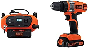 BLACK+DECKER BDINF20C 20V Lithium Cordless Multi-Purpose Inflator (Tool Only) with BLACK+DECKER LDX220C 20V MAX 2-Speed Cordless Drill Driver (Includes Battery and Charger)