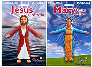 Jesus of Nazareth & Mary, Mother of Jesus Bendable & Poseable Figures Set