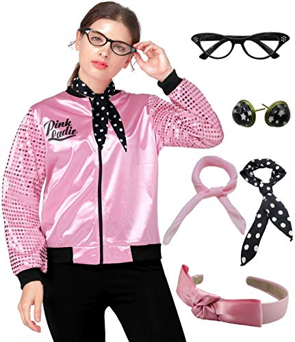 1950s Pink Ladies Satin Jacket Sequin Sleeve with Scarf Halloween Costume Outfit (S, Pink) -