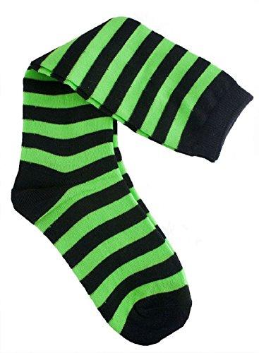 Fish Stick Halloween Costume (Knee Highs Striped Green Black Witch Socks Women's Halloween Costume Accessories)