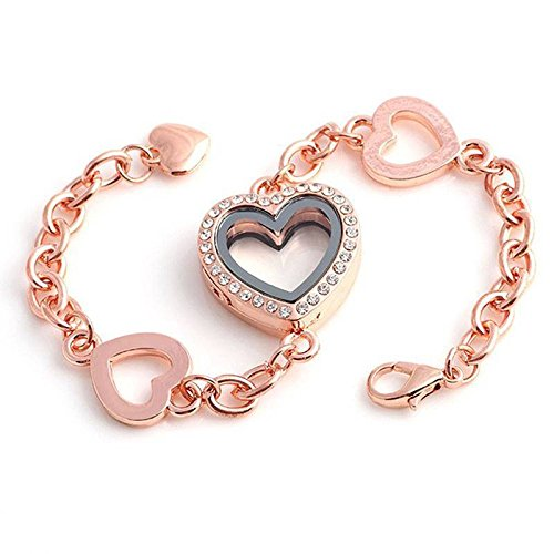 - patcharin shop Heart Floating Locket Chain Bracelet Fashion Women Jewelry Gift Sale Color Rose Gold