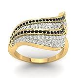 Certified 18K Yellow Gold (HallMarked), 0.47 cttw Round-Cut Diamond (IJ | SI ) Black Cubic Zirconia and Diamond Engagement Wedding Ring Size - 7