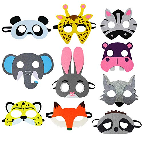 10 Assorted Felt Jungle Animal Masks for Kids Toddler Boys Girls Woodland Costume Zoo Party Favors -