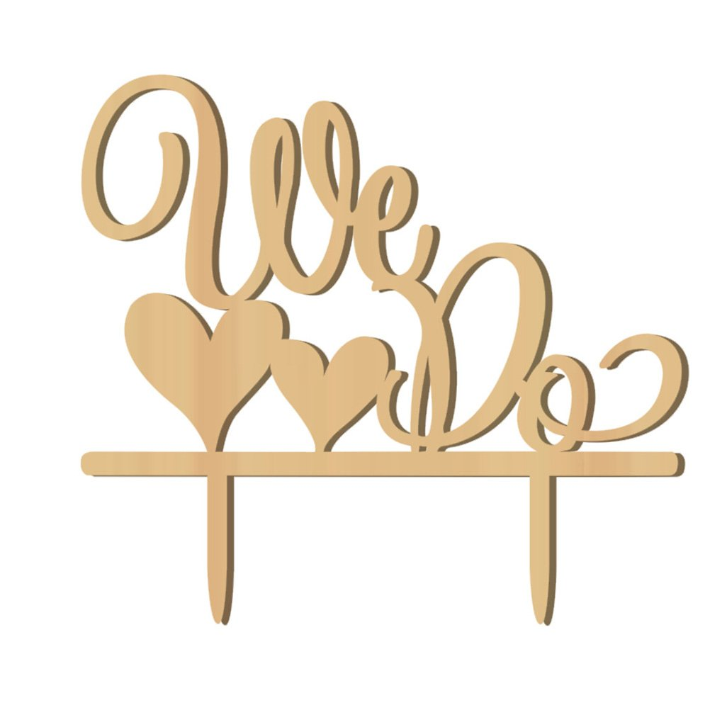 Wedding Cake Topper WE DO Wood Wedding Cake Decorations(Wood colour)