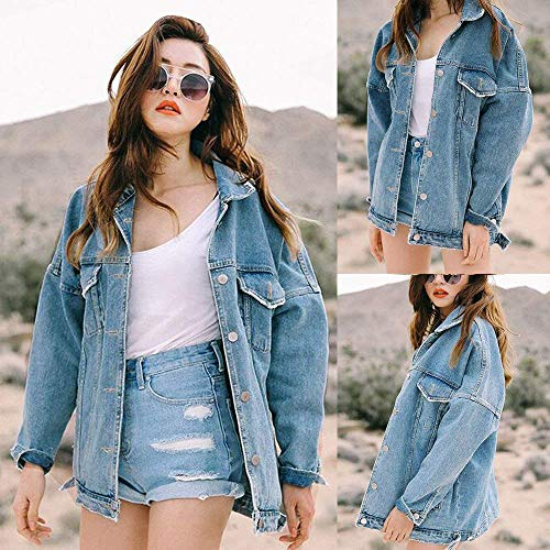 Single Outdoor Giovane Moda Donna Lunga Manica Autunno Bavero Anteriori Jeans Ragazza Breasted Cappotto Baggy Blau Tasche Giacca Giacche 66SFZnq7wA