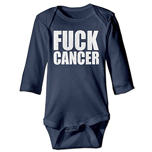 ONE 2 1 Newborn Babys Boy's & Girl's Breast Cancer Awareness Fuck Cancer Long Sleeve Bodysuit Baby Onesie For 0-24 Months Navy Size 12 ()