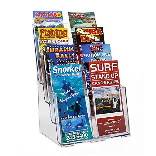 hot sale Source One 8 Pocket 4 Tier Clear Acrylic Brochure Holder Organizer Counter Top or Wall Mount …