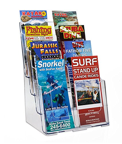 Source One 8 Pocket 4 Tier Clear Acrylic Brochure Holder Organizer Counter Top or Wall Mount (Wide Rack Top Magazine)