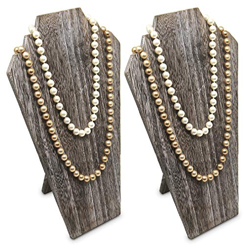 - Ikee Design 2 pcs Set Lightweight Wood Jewelry Display Bust with Easel for 3 Necklaces, Coffee Color