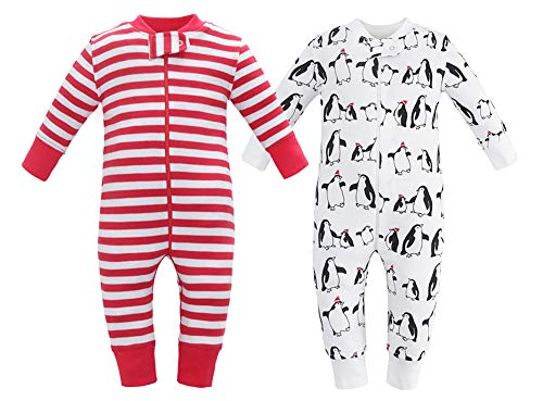 Owlivia Organic Cotton Baby Boy Girl 2 Pack Zip up Sleep N Play, Footless, Long Sleeve (Size 0-18 Month)(3-6Months,Penguin+Red Stripe)