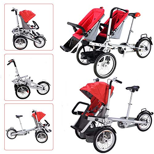 Feiuruhf Folding Bicycle, One/Two Seat Folding Mother Baby Toddle Child Kids' Tricycle Stroller Carrier Mom Bicycle Pushchair 3 to 5 Years Shopping Children's Tricycles, US Stock