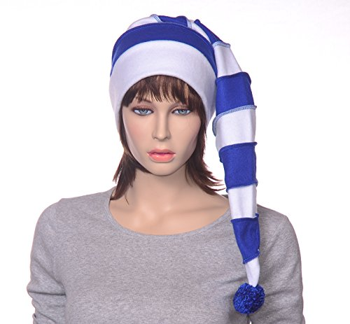 Long Stocking Cap in Royal Blue and White Stripes Fleece with Pompom