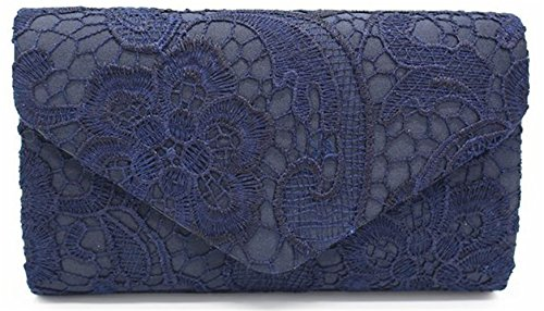 (Nodykka Wedding Pleated Floral Lace Clutches Bag Evening Cross Body Handbags Purse)