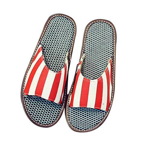 Slip Male Summer Spring Massage Fall Anti Leather Lovers Indoor Smelly PU Anti Breathable TELLW Summer Great Cold Lady Women Slippers Slippers Home Red w7ASdAEqx