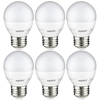Sunlite G16/LED/7W/D/E26/FR/ES/27K/CD/6PK Dimmable Energy Star 2700K Medium Base Warm White LED Globe G16 7W Light Bulb (6 Pack), Frosted
