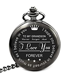 Grandson Gifts from Grandpa Grandma Personalized Pocket Watch for Christmas Graduation Birthday (to Grandson)