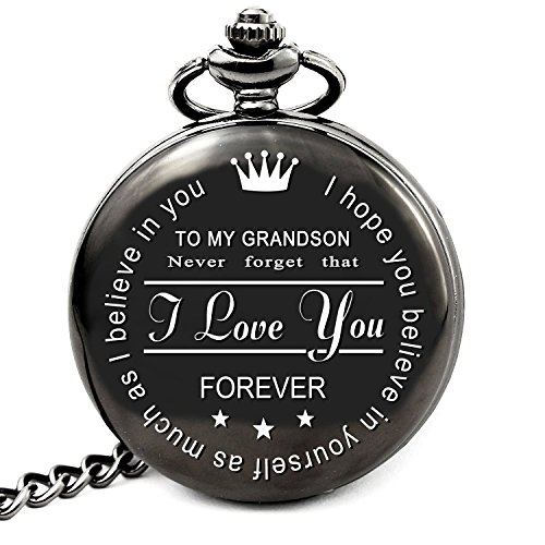 LEVONTA Grandson Gifts from Grandpa to Grandson Gifts from Grandma Personalized Pocket Watch for Men (To Grandson)