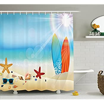 seashells decor shower curtain set by ambesonne holiday theme sunglasses on the sand beach summer surfboard daytime sunny starfish seashells bathroom