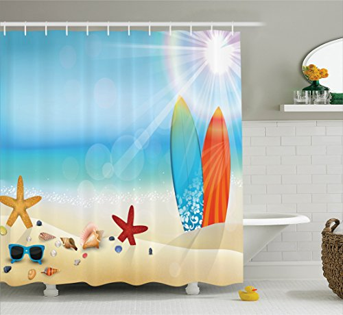 Seashells Decor Shower Curtain Set By Ambesonne, Holiday Theme Sunglasses On The Sand Beach Summer Surfboard Daytime Sunny Starfish Seashells , Bathroom Accessories, 69W X 70L Inches