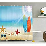 Seashells Decor Shower Curtain Set By Ambesonne, Holiday Theme Sunglasses On The Sand Beach Summer Surfboard Daytime Sunny Starfish Seashells , Bathroom Accessories, 84 Inches Extralong