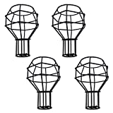 4pcs Vintage Cage Lampshade, Motent Industrial Retro Metal Bird Cage Edison Bulb Guard, Creative Iron Wrought Lamp Holder, DIY Lighting Fixture Replacement, 4.3'' Dia for Pendant Light Wall Lamp