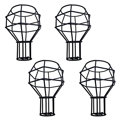 4pcs Vintage Cage Lampshade, Motent Industrial Retro Metal Bird Cage Edison Bulb Guard, Creative Iron Wrought Lamp Holder, DIY Lighting Fixture Replacement, 4.3