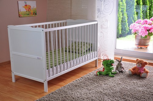 -[ FREE UK Delivery ? White Solid Wood Baby Cot Bed & Deluxe Foam Mattress Converts into a Juni
