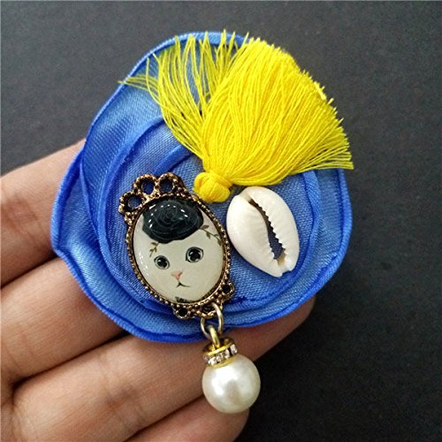 - Blue bronze alloy bottom bracket shellten hanging beads tassel flower brooch burning 1 part 2