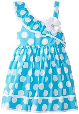 Youngland Little Girls' Polka Dot Print One Shoulder Dress, Blue, 2T