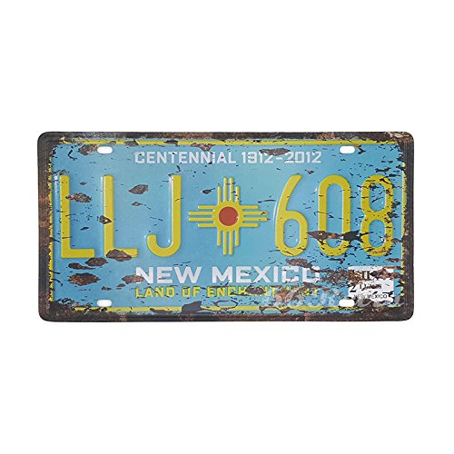 66Retro New Mexico LLJ-608, Land of Enchantment, Embossed Vintage Tin Sign, Retro Auto License Plate, 30cm x 15cm
